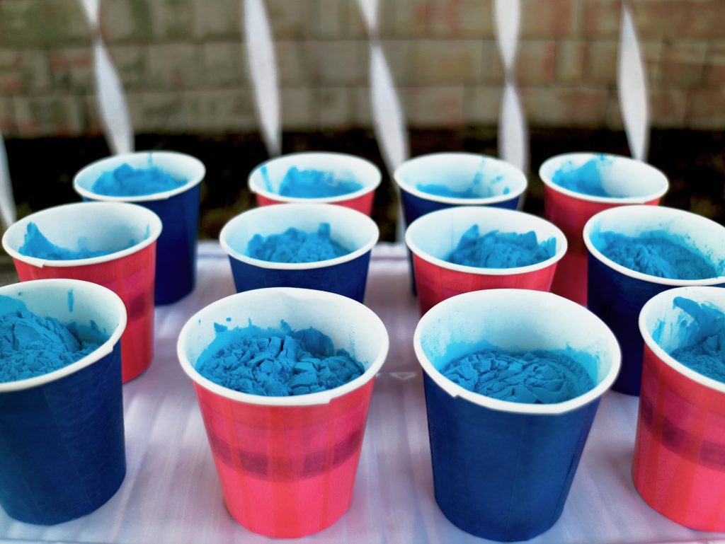 Color powder cups for Gender Reveal Party