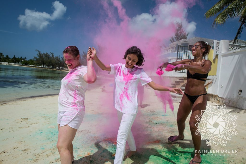Color powder wedding beach fun
