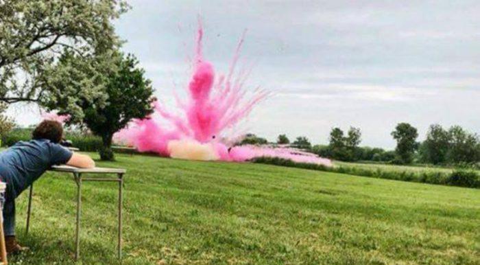 Pink Color Powder Gender Reveal Explosion