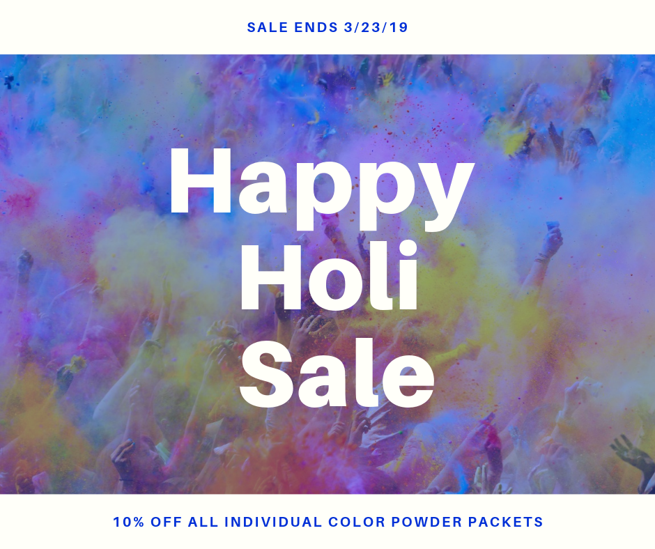 Happy Holi Sale! 10% off all individual color powder packets