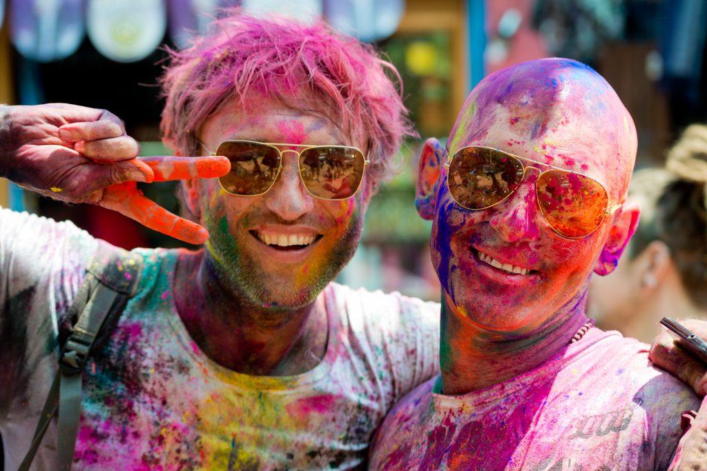 Men at Holi Color Powder Festival