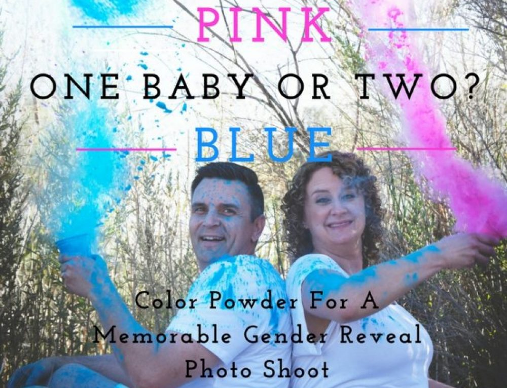 Twins Gender Reveal Photo Shoot With Color Powder