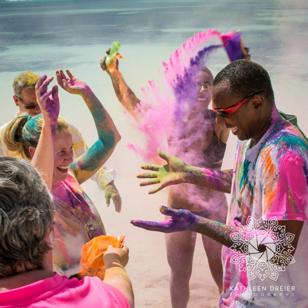 color powder wedding party ideas