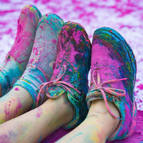 Pink Color Powder On shoes