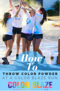 throwing color powder at a fun run