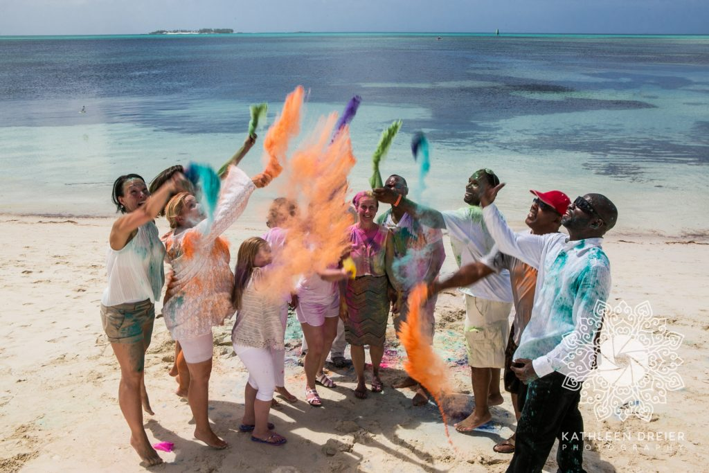 color powder wedding by the shore